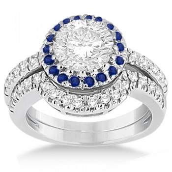 Halo Blue Sapphire & Diamond Bridal Set 14k White Gold (0.65ct)