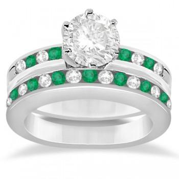 Semi-Eternity Emerald Gemstone Bridal Set Platinum (0.96ct)