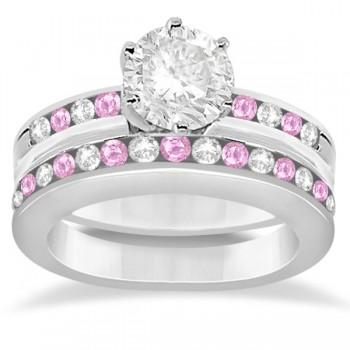 Semi-Eternity Pink Sapphire Gem Bridal Set 18K White Gold (0.96ct)