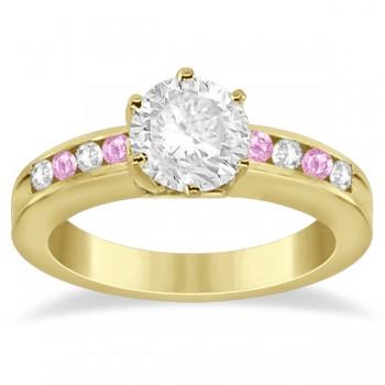 Semi-Eternity Pink Sapphire Gem Bridal Set 18K Yellow Gold (0.96ct)