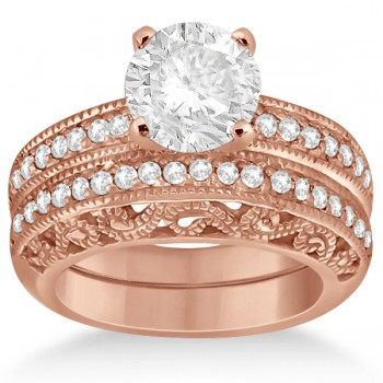 Vintage Filigree Diamond Bridal Ring Set 14K Rose Gold (0.64ct)