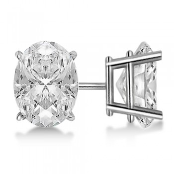 Oval-Cut Diamond Stud Earrings