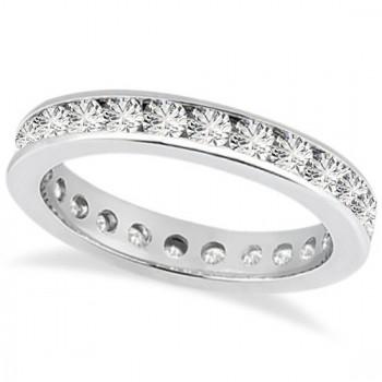 Channel Set Diamond Eternity Ring Band 14k White Gold (1.50 ct)