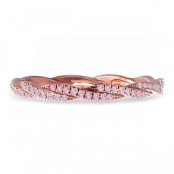 Hidalgo Micro Pave Pink Diamond Ring Band 18k Rose Gold (0.15ct)