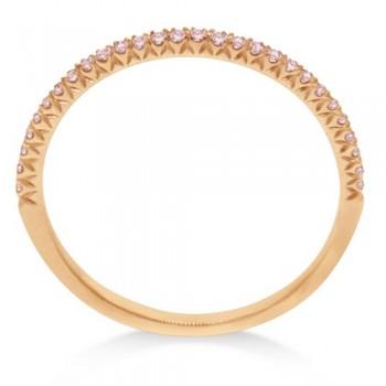 Hidalgo Pave` Pink Diamond Eternity Ring Guard 18k Rose Gold (0.20 ct)