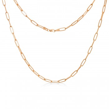 Flat Wire Long Link Paperclip Chain Necklace 14k Rose Gold
