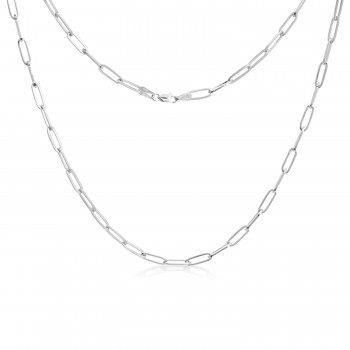 Flat Wire Long Link Paperclip Chain Necklace 14k White Gold