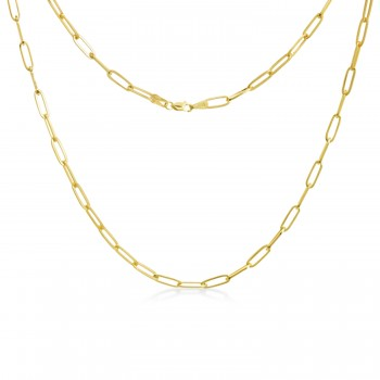 Flat Wire Long Link Paperclip Chain Necklace 14k Yellow Gold