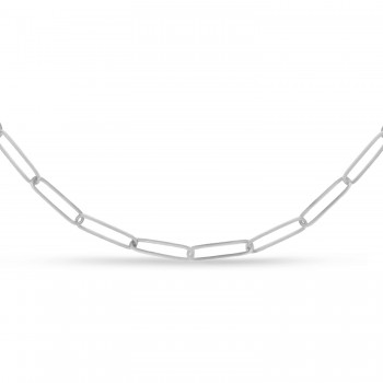 Handmade Elongated Paperclip Link Chain Necklace 14k White Gold