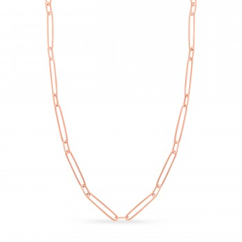 Paperclip Chain Necklace With Lobster Lock 14k Rose Gold