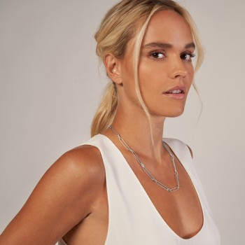 Paperclip Chain Necklace With Lobster Lock 14k White Gold