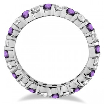 Eternity Diamond & Amethyst Ring Band 14k White Gold (2.40ct)