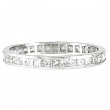 Princess-Cut Diamond Eternity Ring Band 14k White Gold (1.16ct)