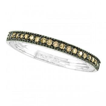 Champagne Diamond Ring Band 14K White Gold (0.31ct)