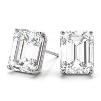 Emerald-Cut Moissanite Stud Earrings