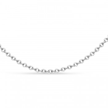Cable Chain Necklace With Lobster Lock 14k White Gold