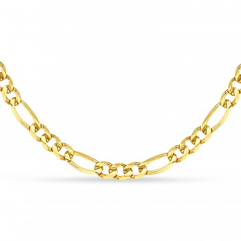 Figaro Chain Necklace With Lobster Lock 14k Yellow Gold