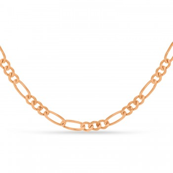 Large Figaro Chain Necklace With Lobster Lock 14k Rose Gold