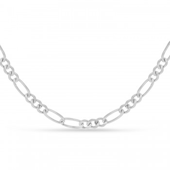 Large Figaro Chain Necklace With Lobster Lock 14k White Gold