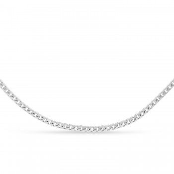 Franco Chain Necklace With Lobster Lock 14k White Gold