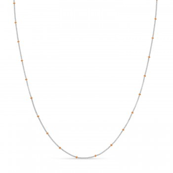 Curb Saturn Chain Necklace 14k Rose Gold