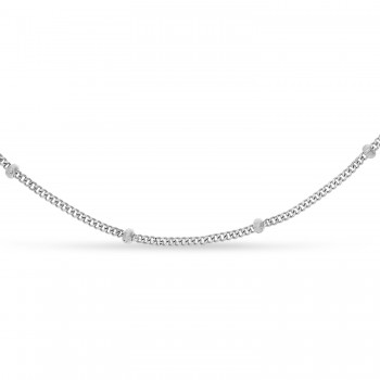 Curb Saturn Chain Necklace 14k White Gold