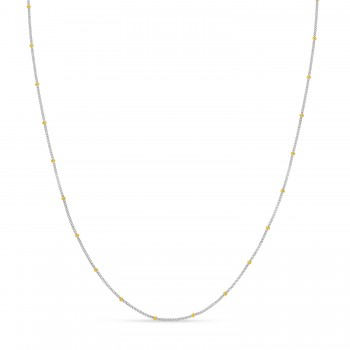 Curb Saturn Chain Necklace 14k Yellow Gold