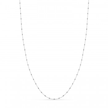 Cable Chain Necklace With Beads 14k White Gold