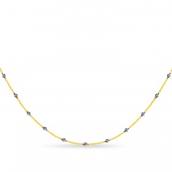 Cable Chain Necklace With Beads 14k Yellow Gold