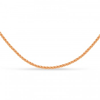 Round Wheat Chain Necklace With Lobster Lock 14k Rose Gold