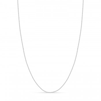Round Wheat Chain Necklace With Lobster Lock 14k White Gold