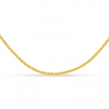 Round Wheat Chain Necklace With Lobster Lock 14k Yellow Gold