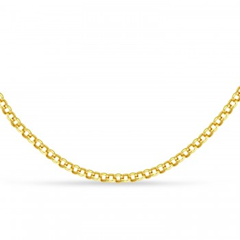 Hollow Rolo Chain Necklace 14k Yellow Gold