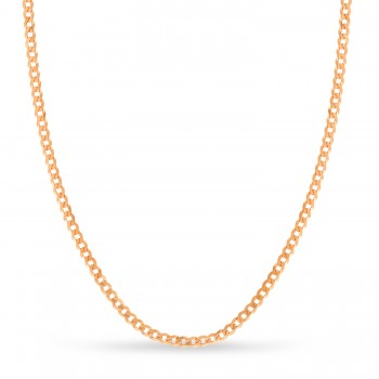 Curb Chain Necklace With Lobster Lock 14k Rose Gold
