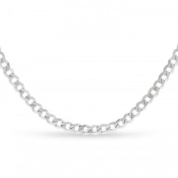 Curb Chain Necklace With Lobster Lock 14k White Gold