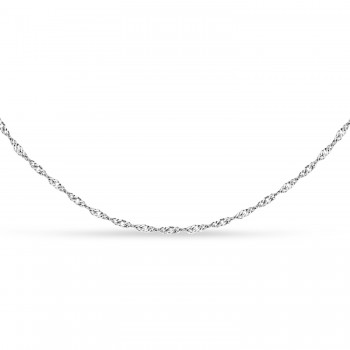 Singapore Chain Necklace With Lobster Lock 14k White Gold