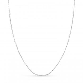 Round Box Chain Necklace 14k White Gold