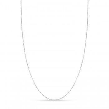Designer Rolo Chain Necklace 14k White Gold