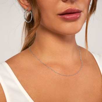 Paperclip Link Chain Necklace With Lobster Lock 14k White Gold
