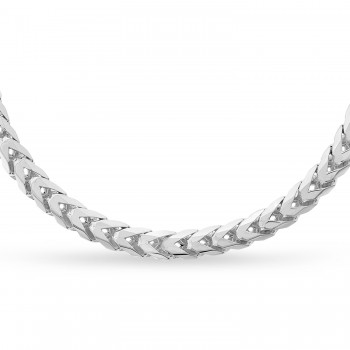 Large Franco Chain Necklace With Lobster Lock 14k White Gold