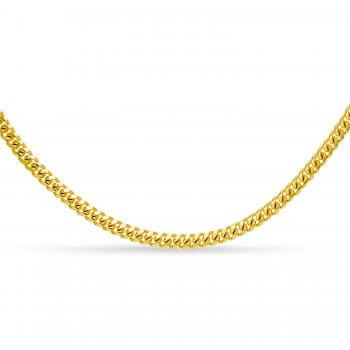 Small Miami Cuban Chain Necklace 14k Yellow Gold