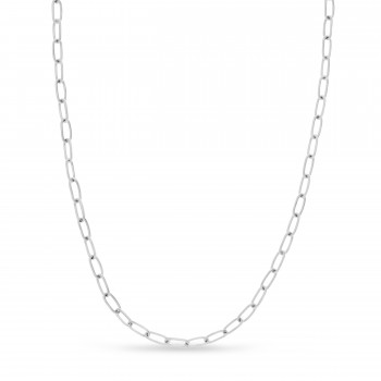 Large Paperclip Link Chain Necklace With Lobster Lock 14k White Gold