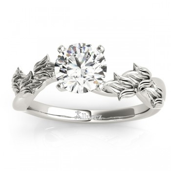 Solitaire Tulip Vine Leaf Engagement Ring Setting 14k White Gold