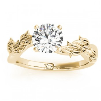Solitaire Tulip Vine Leaf Engagement Ring Setting 14k Yellow Gold