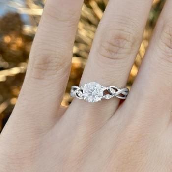Diamond Marquise Vine Leaf Engagement Ring Setting 14k White Gold (0.20ct)