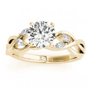 Diamond Marquise Vine Leaf Engagement Ring Setting 14k Yellow Gold (0.20ct)