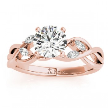 Diamond Marquise Vine Leaf Engagement Ring Setting 18k Rose Gold (0.20ct)