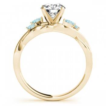 Aquamarine Marquise Vine Leaf Engagement Ring 18k Yellow Gold (0.20ct)