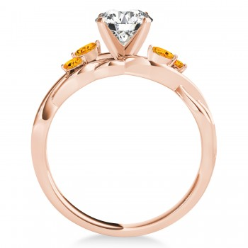 Citrine Marquise Vine Leaf Engagement Ring 18k Rose Gold (0.20ct)