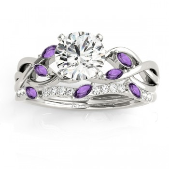 Marquise Amethyst & Diamond Bridal Set Setting 14k White Gold (0.43ct)